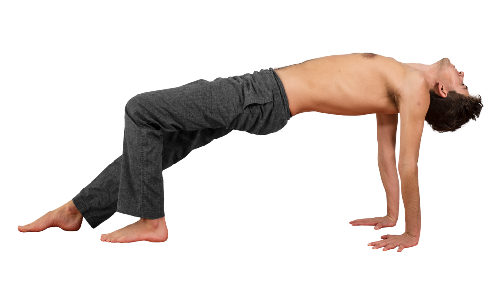 purvottanasana with one knee bent